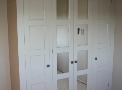Painted wardrobe with walnut interior