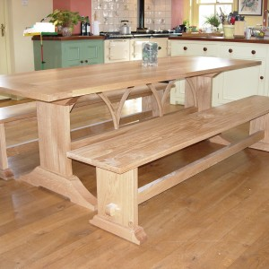 Oak kitchen table and benches